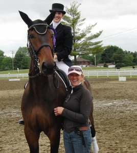 Lance, Linds and I with 5th place ribbon, CDI Blainville, PSG