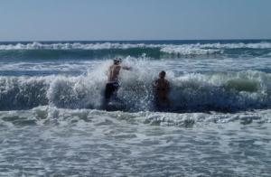 Greg and Phaedra...the water is friggin' cold!!!  (they're young and foolish still!!)  and having soo much fun!!!