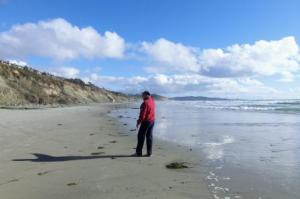 """Curtis and Barb went for a walk on beach. """"Torrey Pines is right there Barb""""."""