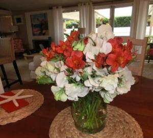 Stopped at the Farmer's Market.  Frescias, tulips and sweet peas...the beach house smells so lovely!