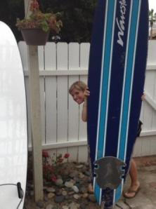 Surf boards in the yard