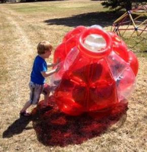 After rescuing many rockets from trees and roofs, Uncle Greg got to relax in the rollie ball...