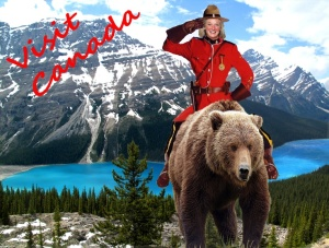 A Mountie on a grizzly bear???...now that's just silly!!!