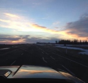 Sunrise in Alberta, about 5 hrs into our trip.
