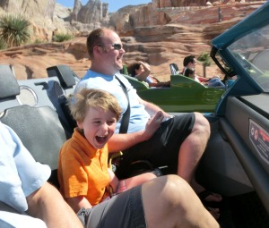 Mack really enjoyed the Cars ride with Daddy and Papa...