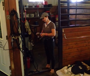 Tack clean up before loading up and heading home.  Great ride Sharon! Wonderful new horse!!!