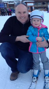 Daddy and Meggie and her first skis!